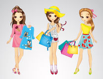 Fashion Girl Friends Do Shopping Stock Photo