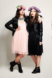 Fashion Girl Friends Standing on Background. Two Woman Stock Images
