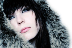 Fashion girl with fur Royalty Free Stock Photos