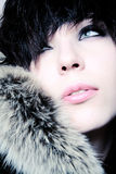 Fashion girl with furs. Faraway look Stock Image