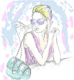 Fashion girl in glasses at table hipster stock illustration