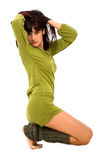 Fashion girl in a green dress Royalty Free Stock Image