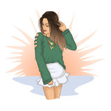 Fashion girl in green shirt with white skirt. Fashion illustration. Stylish woman in nude colors, pink lips and ombre hairstyle. V Stock Image