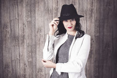 Fashion Girl in grey Dress and hat. Portrait of a elegant young woman with  long 279695fcd2c2