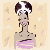 Fashion girl.  Hand drawn Portrait. Royalty Free Stock Image