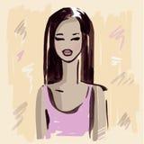 Fashion girl.  Hand drawn Portrait. Stock Photos