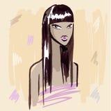 Fashion girl.  Hand drawn Portrait. Stock Photo