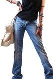 Fashion girl with handbag Royalty Free Stock Image