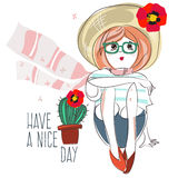 Fashion girl with hat, scarf and cactus. Stock Images