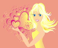 Fashion girl with heart, vector illustration Royalty Free Stock Photos