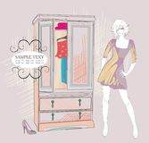 Fashion girl and her closet Royalty Free Stock Images