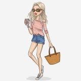 Fashion girl illustration Royalty Free Stock Images
