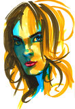 Fashion girl illustration. Hand drawn portrait of a young woman model face. sketch, marker, watercolor. Stock Images