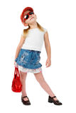 Fashion Girl In Sunglasses With Red Handbag Royalty Free Stock Photo