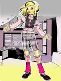 A fashion girl  in the interior. The art raster  illustration of a fashion  girl in the children-room Stock Photography