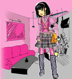 A fashion girl  in the interior. The art raster  illustration of a fashion  girl in the drawing-room Stock Image
