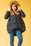Fashion girl in jacket. Royalty Free Stock Photography