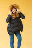 Fashion girl in jacket. Stock Photography