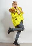 Fashion girl in jacket. Royalty Free Stock Images