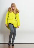 Fashion girl in jacket. stock images