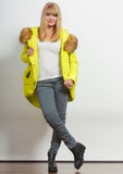 Fashion girl in jacket. Royalty Free Stock Image
