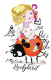 Fashion Girl on a ladybird with a butterfly. Royalty Free Stock Photography