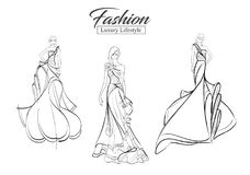 Fashion girl. Luxury lifestyle. A set of fashion sketches. Autumn-winter 2018. Fashion girls on a white background in beautiful evening dresses Royalty Free Stock Photos