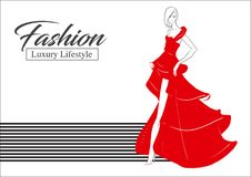 Fashion girl. Luxury lifestyle. Vector illustration. Fashion woman model in evening dress Stock Images