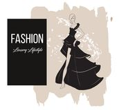 Fashion girl. Luxury lifestyle. Vector illustration. Fashion woman model in evening dress Stock Photography