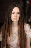 Fashion girl with make up. Portrait of beautiful pretty young girl with long  hair Stock Photos