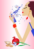 Fashion girl make up - vector illustraion Royalty Free Stock Photo