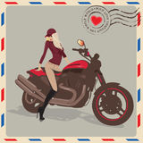 Fashion girl  with motorbike post card Royalty Free Stock Photos