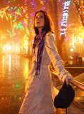 Fashion girl at night alley Royalty Free Stock Photos