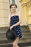 Fashion girl on old staircase Royalty Free Stock Photo