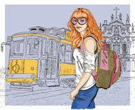 Fashion girl and old tram, urban scene Stock Photos
