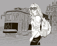 Fashion girl and old tram. Vector illustration of Fashion girl and old tram royalty free illustration