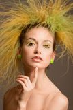 Fashion girl with original hairstyle. In the studio Stock Photo
