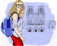 Fashion girl in Paris against notre dame de paris Royalty Free Stock Photos