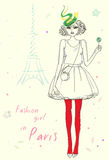 Fashion girl in Paris near Eiffel Tower. Hand drawn illustration Background with model Stock Photos