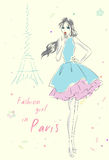 Fashion girl in Paris near Eiffel Tower. Hand drawn illustration Background with model Royalty Free Stock Image