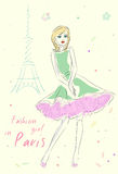 Fashion girl in Paris near Eiffel Tower. Hand drawn illustration Background with model Royalty Free Stock Photos