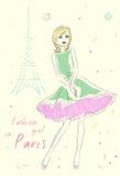 Fashion girl in Paris near Eiffel Tower Royalty Free Stock Photos