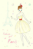 Fashion girl in Paris near Eiffel Tower. Hand drawn illustration Background with model Royalty Free Stock Photo