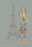 Fashion girl in Paris near Eiffel Tower. Hand drawn illustration Background with model Royalty Free Stock Photography
