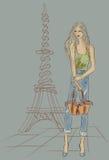 Fashion girl in Paris near Eiffel Tower Royalty Free Stock Photography