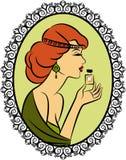 Fashion girl with perfume. Vintage fashion girl with perfume Stock Images