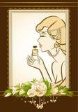 Fashion girl with perfume. Vintage fashion girl with perfume Stock Photos