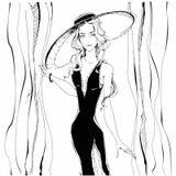 fashion girl Piękno model w kapeluszu grafit greaser również zwrócić corel ilustracji wektora ilustracji