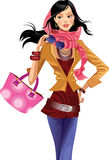 Fashion girl  with pink bag Stock Images