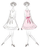 Fashion girl in pink dress. Sketch Stock Photos